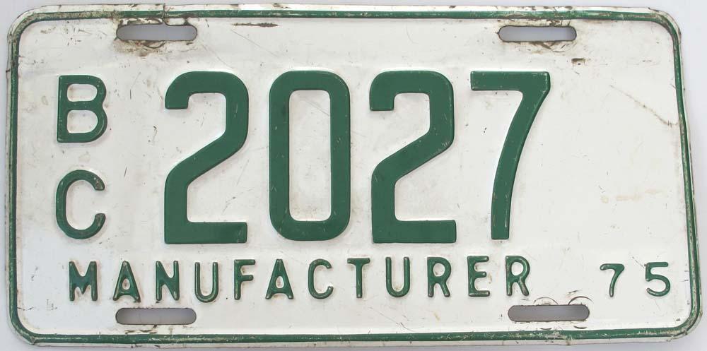 British Columbia Manufacturer License Plates