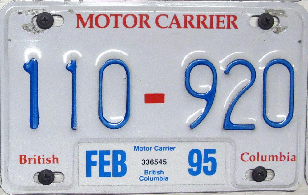 British Columbia Motor Carrier License Plates